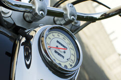 Speedometer on motocycle. Close-up speedometer on the classic chromed motocycle Stock Image