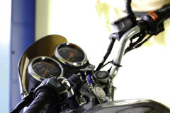 Speedometer of motorcycle. With key in Ignition switch Stock Photo