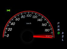 Speedometer with moving arrow in high speed Stock Images