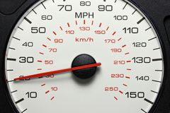 Speedometer at 20 MPH. Speedometer of a car at 20 MPH stock photo