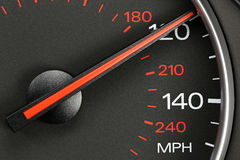 Speedometer at 120 MPH. Speedometer in car dashboard at 120 MPH Stock Photos