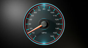 Speedometer MPH Slow. A regular speedometer with glowing blue edges and a red needle pointing towards a low speed on an isolated black background Royalty Free Stock Images