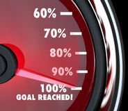 Speedometer Needle Hits 100 Percent Goal Reached. A red speedometer with a moving needle rising past numbers and percentages to hit 100 percent Goal Reached Stock Photography