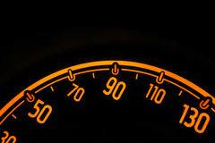 Speedometer at night inside a car Royalty Free Stock Image