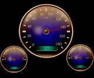 Speedometer och andra visartavlor stock illustrationer