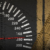Speedometer on the old asphalt road. As the concept of of speed, sport, competitions stock illustration