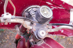 Speedometer of old red rusty motorcycle Royalty Free Stock Image