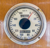 Speedometer in an old train stock photo