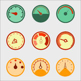 Speedometer panel set. Pressure indicator tool. Meter Icon Object. Vector Royalty Free Stock Photos