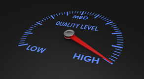 Speedometer - quality level. Speedometer with quality level, with needle on the high value (3d render Stock Image