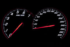 Speedometer and revcounter Stock Photo