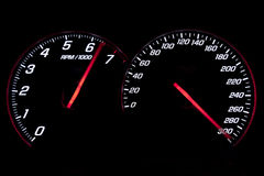 Speedometer and revcounter reaching the limit Stock Image