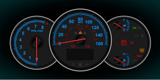 Speedometer and RPM gauge cluster Stock Photo