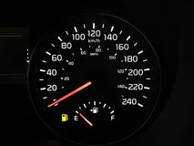 Speedometer Showing An Empty Fuel Tank Stock Image