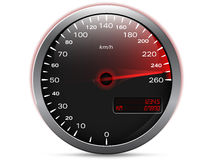 Speedometer showing maximum speed with needle in red. With metal frame and analogue - digital display, isolated on white Royalty Free Stock Photo