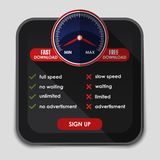 Speedometer with slow and fast download Stock Photo