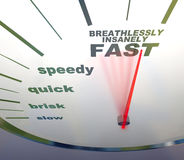 Speedometer - slow to insanely fast. A speedometer with needle racing to the words Breathlessly, Insanely Fast Stock Image