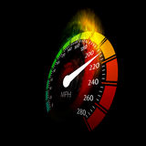 Speedometer with speed fire path. Vector illustration on black Stock Photography