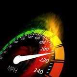 Speedometer with speed fire path. Vector illustration on black Royalty Free Stock Photo