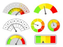 Speedometer speed indicators interface set measurement meter dashboard arrow isolated design vector illustration royalty free illustration