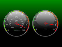Speedometer and tachometer. Stock Photos