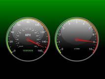 Speedometer and tachometer. Speedometer and tachometer on a dark background Stock Photos
