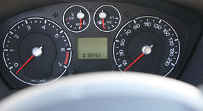 Speedometer and tachometer. With additional instruments Stock Photo