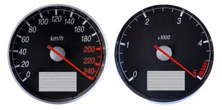 Speedometer and tachometer Stock Photos