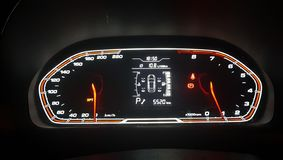 Speedometer and tachometer with additional instruments royalty free stock photos
