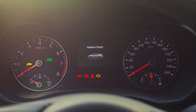 Speedometer and tachometer with additional instruments Stock Image