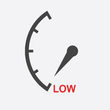 Speedometer, tachometer, fuel low level icon. Flat vector illust. Ration on white background Stock Photography