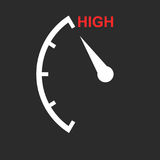Speedometer, tachometer, fuel low level icon. Flat vector illust Royalty Free Stock Photo