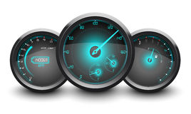 Speedometer, tachometer, fuel and temperature gauge isolated white background Royalty Free Stock Photo