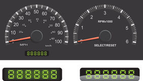 Speedometer, Tachometer, Odometer. Speedometer and Tachometer guage set with mileage LED details Stock Images