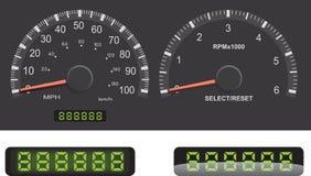 Speedometer, Tachometer, Odometer Stock Images