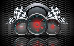 Speedometer, tachometer, temperature and fuel gauge on on metal perforated background Royalty Free Stock Photo