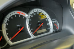 Speedometer, tachometre and fuel level. Speedometer, tachometre and fuel level on dashboard of the car Royalty Free Stock Photo
