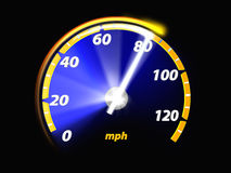 Speedometer test. Isolated black, 3d illustration Royalty Free Stock Image