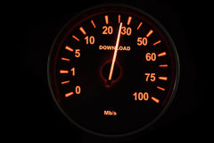 Speedometer testing the download process Stock Photography