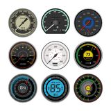Speedometer vector car speed dashboard panel and speed-up power measurement illustration set of speed-limit control. Technology with arrow or pointer isolated royalty free illustration