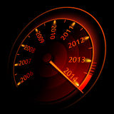 Speedometer. Vector illustration of a speedometer 2014 on a black background Royalty Free Stock Photos
