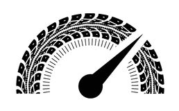 Speedometer vector illustration. Styling by tire tracks. Vector illustration Royalty Free Stock Photos