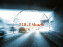 Speedometer. And very fast cars on highway Stock Photos