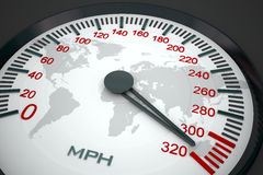 Speedometer and world map. 3D image Stock Image