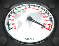 Speedometer and world map Stock Image