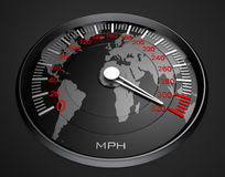 Speedometer and world map, background Stock Photo