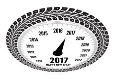 Speedometer 2017 year greeting. Styling by tire tracks. Vector illustration Stock Images