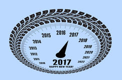 Speedometer 2017 year greeting. Styling by tire tracks. Vector illustration Royalty Free Illustration