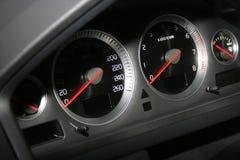 Speedometerr y tacómetro Foto de archivo libre de regalías