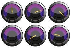 Speedometers. Set of purple speedometers for car or power or thermometers,  illustration additional Royalty Free Stock Image